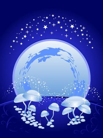 background blue. The beautiful night scenery. The sky, full moon, magic mushrooms. Halloween.
