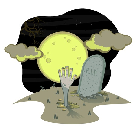 Halloween drawing. Night, full moon, sky, a graveyard landscape. The Hand. Zombi , creep from grave.