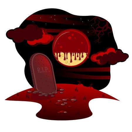 Halloween drawing. Night, full moon, blood sky, a graveyard landscape. Vector