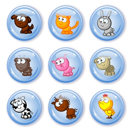 Set of vector buttons isolated. Cute farm animals. Children's comic style drawings. Vector