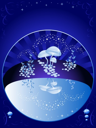 toadstool: Vector background blue. The beautiful night scenery. The sky, magic lake, reflection. Halloween.