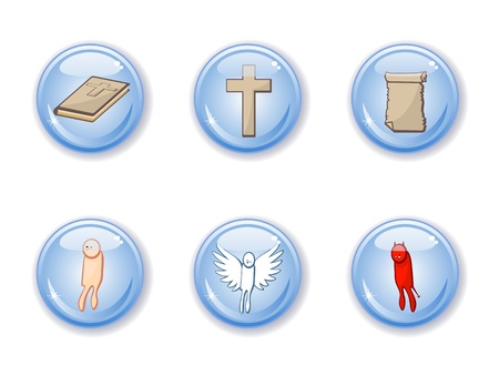 purgatory: Set of vector buttons of religious subjects. Bible, angel, demon, human, cross. Christianity. Catholic.