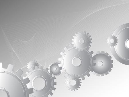 cogs: Sfondo metallo. Immagine vettoriale astratta di ingranaggi e ruote. Meccanica industriale immaginazione. Vettoriali