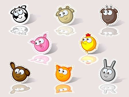 Isolated funny faces farm animals. For children. Vector. Stylized embroidery applique. Illustration