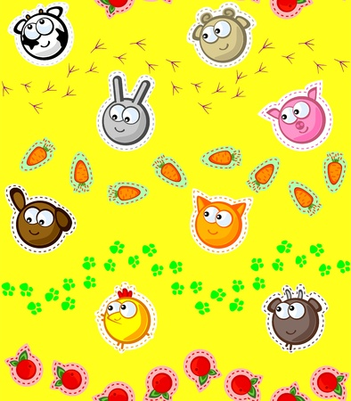 Funny faces farm animals and traces of the legs.on a yellow background. Wallpaper for children. Stylized embroidery applique. Vector seamless texture. Vector