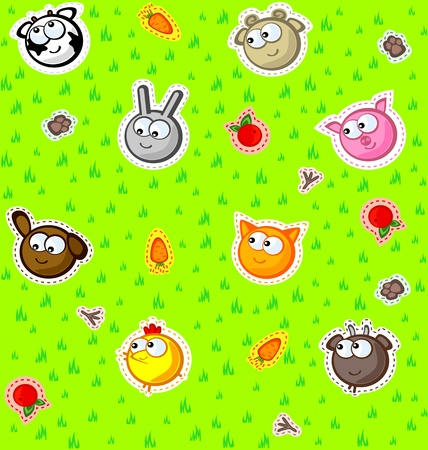 Funny faces farm animals on a background of green grass. Wallpaper for children. Vector seamless texture. Stylized embroidery applique.