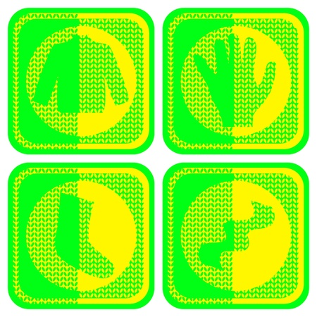 Vector knitted clothes icons. Yellow and green. Four stylized buttons. Sweater, gloves, scarves, socks.