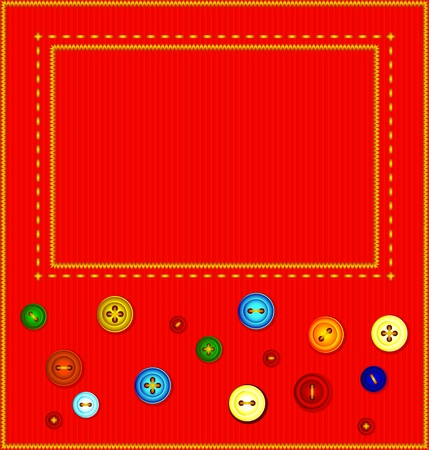 cotton velvet: A piece of red velvet embroidered with gold thread. It colored buttons. Vector background frame.