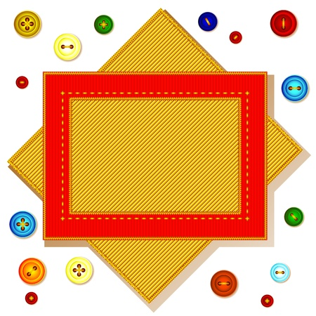 A piece of red velvet embroidered with gold thread. It colored buttons. Vector background frame.