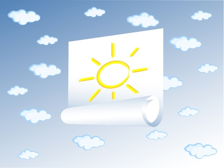 The vector Background blue sky. Some clouds in it. In the sky attached sticker with an image of the sun.  Vector