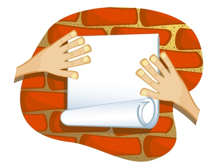 glued: Vector drawing. Hands gluing a piece of paper on a brick wall. The isolated Blank.