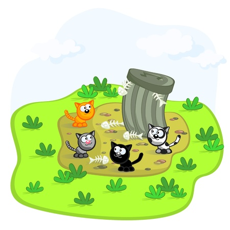 four cats in a garbage can. Cartoon scene. Vector. Isolated.