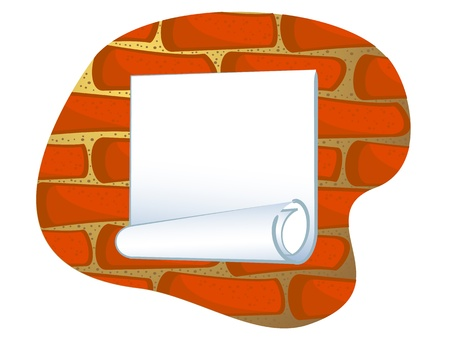 Vector drawing. A blank sheet of paper on a brick wall. Insulated. Vector