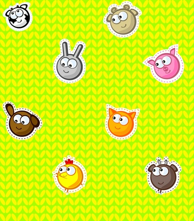 warm clothes: Funny faces farm animals on a yellow background. Styled knitwear and embroidery. Wallpaper for children. Vector seamless texture. Illustration