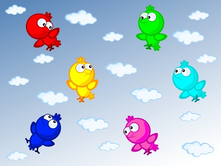 Three Cute cartoon birds fly. They varicoloured. On background blue sky with clouds. Children vector scene of bright colors. Vector