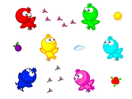 A set of colorful birds. Cute Cartoon Vector Isolated on white background. Vector