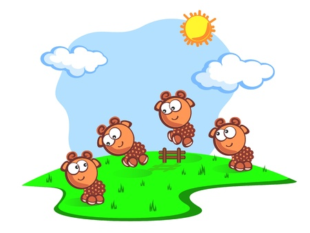 Three Cute cartoon the sheeps jump through fence. Children vector scene of bright colors. Consider the sheeps to fall asleep quicker. The Fun. Vector