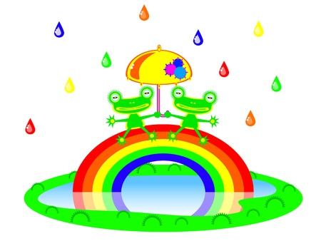 Two Cute cartoon frog sitting on a rainbow under an umbrella. There is a colorful rain. Children vector scene of bright colors. Vector