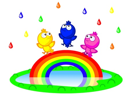 Three Cute cartoon bird sitting on a rainbow. There is a colorful rain. Children vector scene of bright colors.
