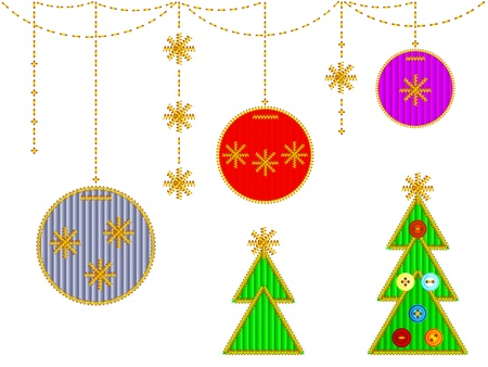 A set of Christmas embroidery. The stitches of gold threads with velvet fabric and buttons. Vector Isolated on white background.