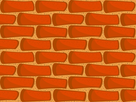 A fragment of a brick wall. Seamless vector texture. Wallpaper in a cartoon style.
