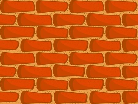 A fragment of a brick wall. Seamless vector texture. Wallpaper in a cartoon style. Vector