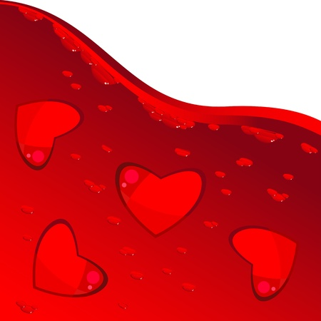 Red hearts floating in the liquid red with bubbles. Wine or blood. Background. Valentines Day.