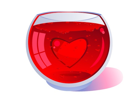 Red heart floating in a clear glass. Red liquid with bubbles. Wine or blood. Background. Valentines Day. Isolated on white background. Vector