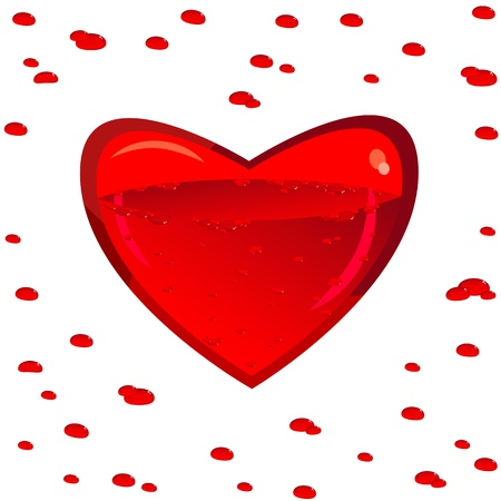 Clear glass heart. Vnetri his blood. Around the drop. Valentine. Isolated on white background. Illustration