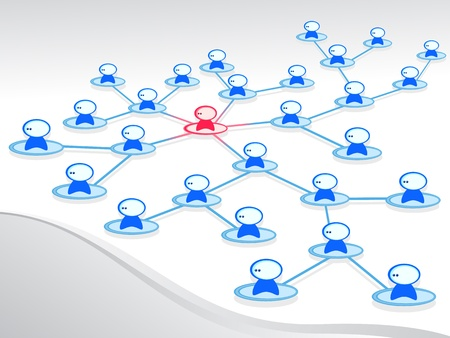 Men joined the network. One stands out. Computer. Social network. Vector isolated figure.