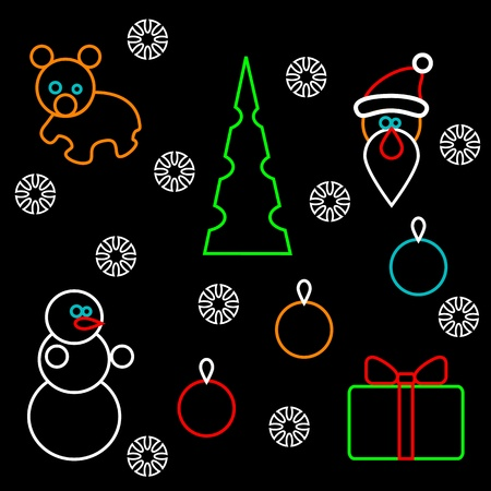 A set of stylized Christmas figurines. Isolated circuits on a black background. Vector
