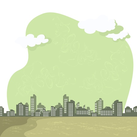 toxic emissions: Vector abstract background. The gray tones. Cityscapes, smog over the city. Environmental problems. Illustration