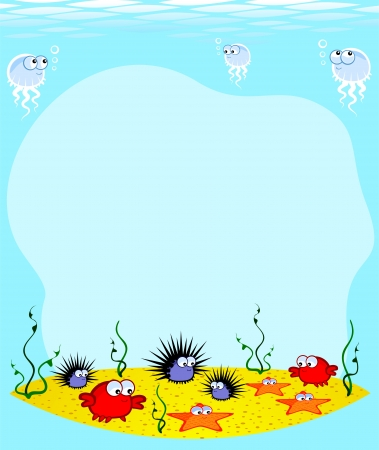 Underwater World  Cartoon cute marine animals on the sandy bottom