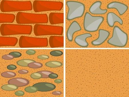 Set of seamless textures  Brick wall, rocks and sand
