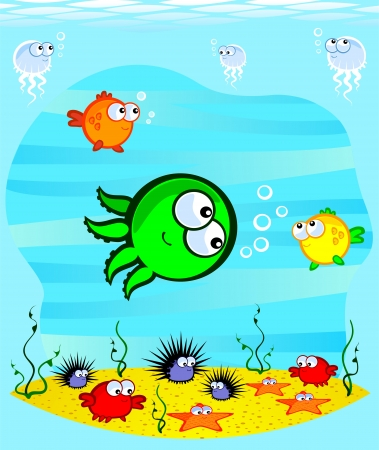 Underwater World  Cartoon cute marine animals on the sandy bottom At the heart of an octopus  Vector