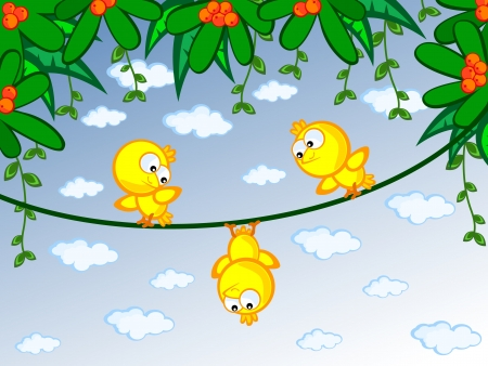 Three cheerful canary on a branch  One of them is sitting upside down  Children s cartoon scene  Vector