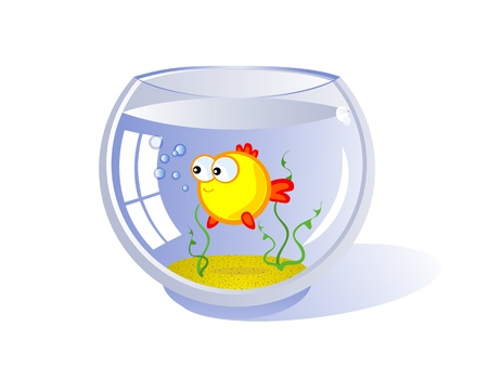 Goldfish in an aquarium Illustration