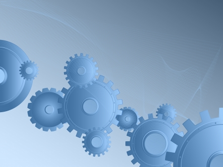 Background blue  Abstract image of gears and wheels  Mechanical Industrial imagination