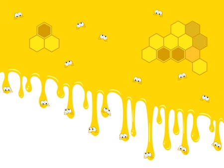 Cartoon drops of honey trickles down  Funny faces  Medical  Honeycombs  Vector