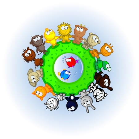 The cute animal the dance round the Planet. Cartoon scene  Vector  Conceptual  Friendship  Vector