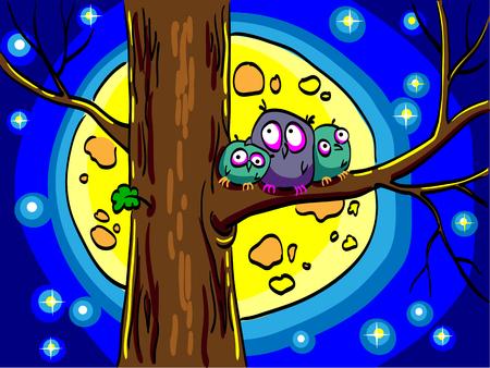 Three owls sitting in a tree. Big moon and stars shining in the night sky. Comic cartoon cute birds.