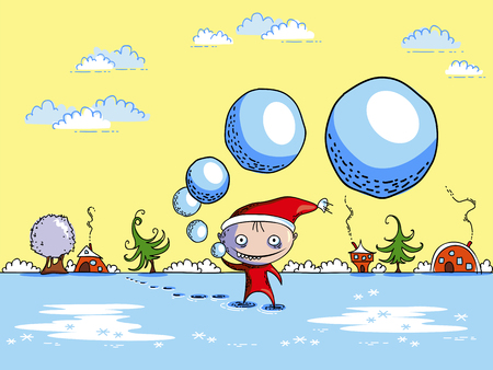 Vector funny cheerful Christmas scene. Elf throws snowballs. Winter frosty day. Illustration