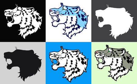 growling: The growling snow leopard (irbis) in a profile - set of six colors variants Illustration