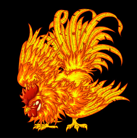 Fighting fiery rooster on a black background - a symbol of 2017 on east horoscope Ilustração