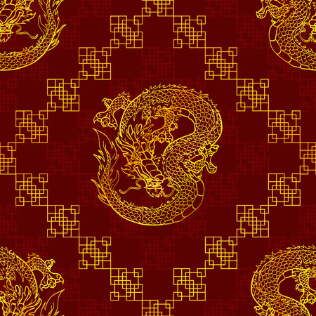 cunning: Cunning Asian dragon seamless pattern - gold line on dark red background Illustration