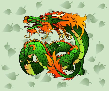 artful: Artful green (and red) wood Asian dragon (or Celtic dragon) against green leaves