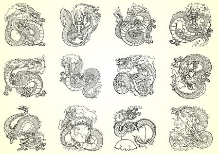 Set 12 Asian dragon black contour on white background Illustration