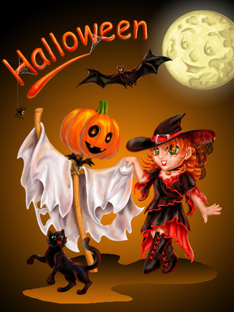 Cheerful Ghost, the witch and cat dance during Halloween Stock Photo