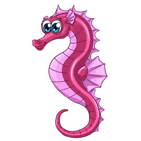 Mooi klein roze zee paard met blauwe ogen afzonderlijk op een witte achtergrond