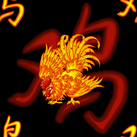 tousled: Fighting fiery red rooster and the Chinese symbol of a rooster on a black background - a seamless pattern background. Chicken a symbol of the Chinese new year 2017